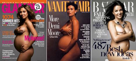 Britney, Mylene and Demi pregnant nude cover magazine+montage