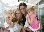 Sam and Lola Sheen with their dad and his fiance Brooke Mueller