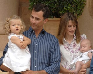 Prince Felipe and Princess Letizia with their daughters Leonor and Sofia