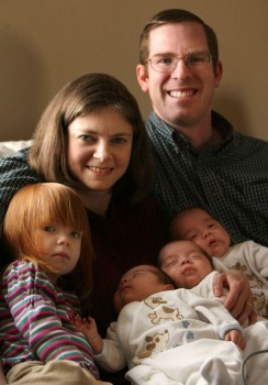 Couple Adopts Rare Identical Triplets bates+family