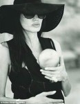 Angelina and one of the twins