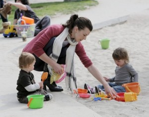 Milla Jovovich with daughter Ever at the Park
