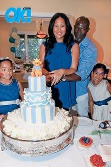 Kimora and Djimon celebrating at baby shower