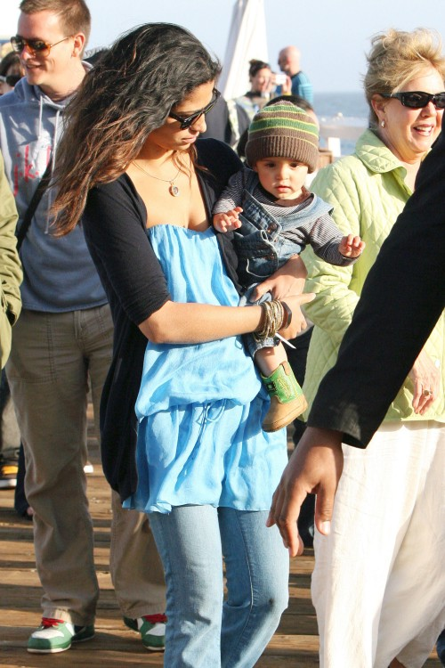 Camila Alves with son Levi at Surfrider Art and Music Festival
