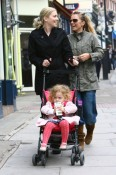 Spice Girl Geri Halliwell shares a laugh with her nanny as they take Bluebell on a shopping trip in Hampstead, London