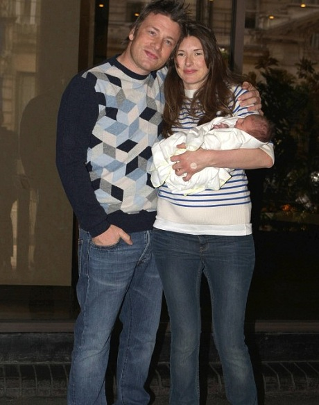 Jamie and Jools Oliver show off baby Petal