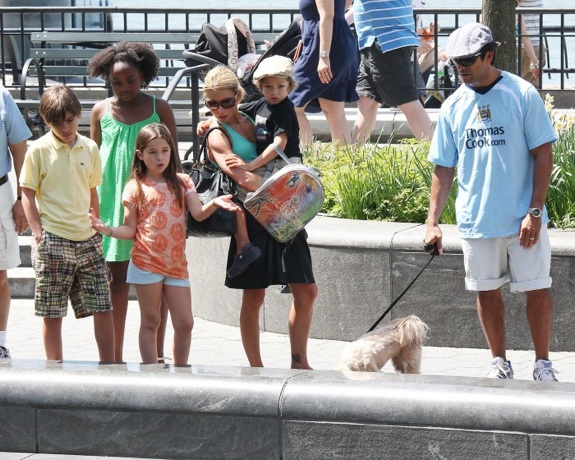 Kelly Ripa and Mark Consuelos out with their kids Michael