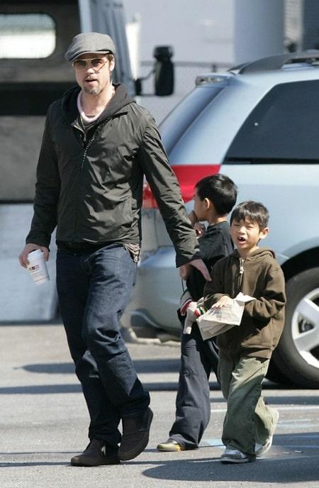 Pax & Maddox with dad Brad Pitt on long island