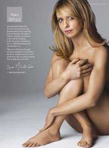 Sarah Michelle takes it off for the for the Coalition of Skin Diseases in America