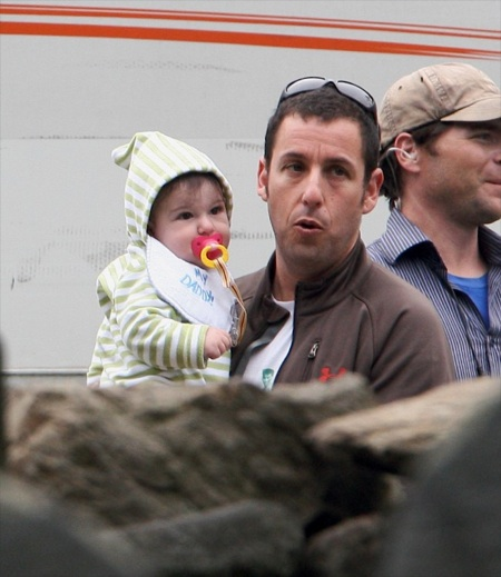 Adam Sandler with daughter Sunny on the set of Grown ups
