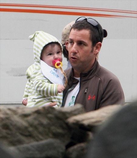 Sunny Sandler visits dad Adam on the set of Grown ups