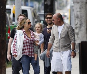 Jennifer Meyer and Toby Maguire out with their new baby & daughter Ruby