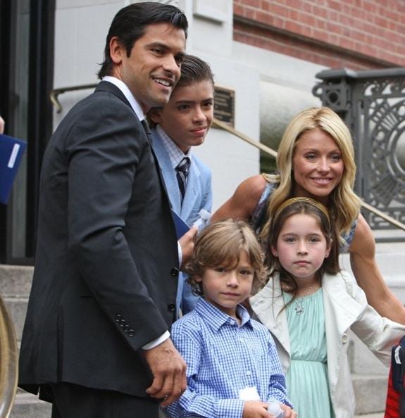 Mark Consuelos and Kelly Ripa with children Lola, Michael