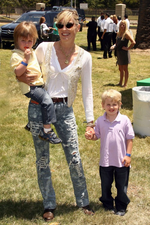 Sharon Stone with her boys Laird and Quinn