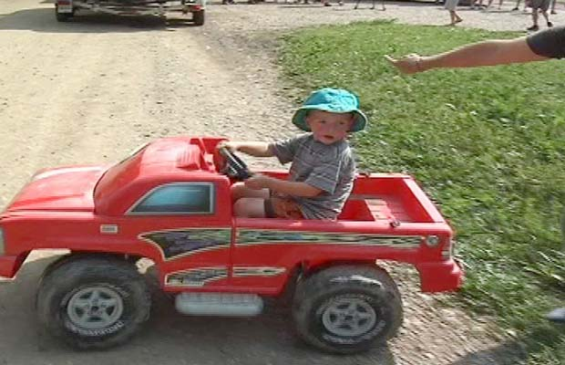 Toddler Rides His Toy Truck 8 Miles Down The River
