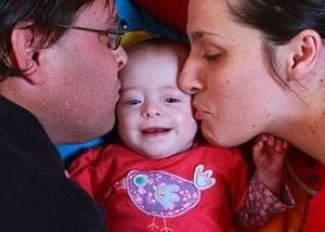 Sarah with her parents