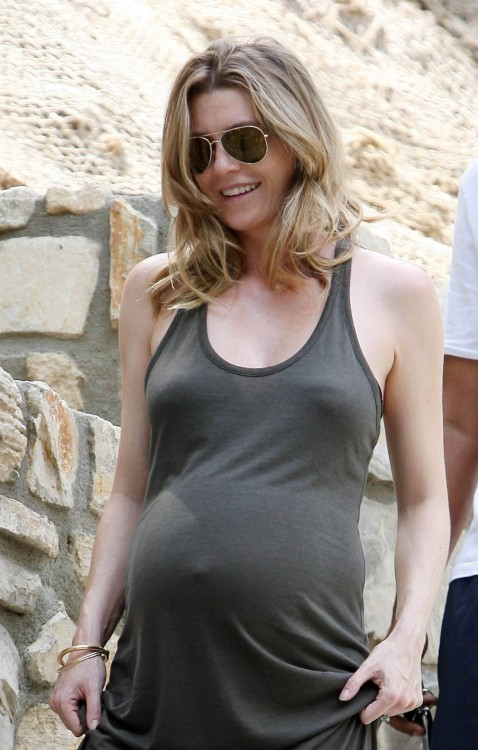 An Expectant Ellen Pompeo Out In LA