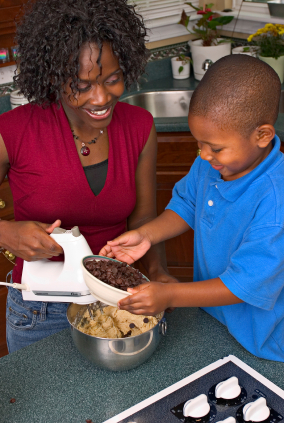 Mom cooking with son