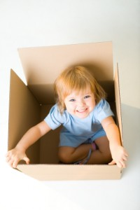 girl cardboard box