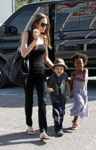 Angelina Jolie out shopping with Shiloh & Zahara