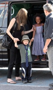 Angelina Jolie out shopping with Shiloh and Zahara