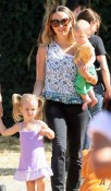 Jennifer Meyer with kids Ruby and Otis at Mr
