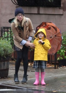 Matilda Ledger & Michelle Williams Have a Rainy Stroll To School