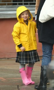 Matilda Ledger and Michelle Williams Have a Rainy Stroll To School