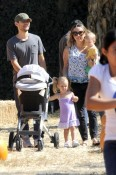 Tobey Maguire and wife Jennifer Meyer with kids Ruby and Otis at Mr