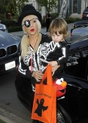 Christina Auguilera out for Halloween with son Max