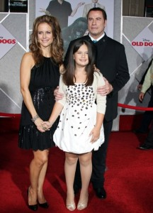 John Travolta and Kelly Preston on the red carpet  with Ella Bleu