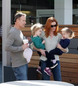 Marcia Cross, Tom Mahoney and daughters, Eden & Savannah shop in Century City