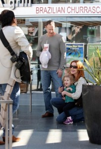 Marcia Cross, Tom Mahoney and daughters, Eden and Savannah shop in Century City