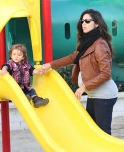 Pregnant Camila Alves at the park with son Levi