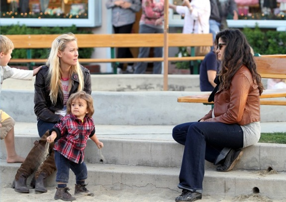 Pregnant Camila Alves at the park with son Levi and Cynthia Daniel