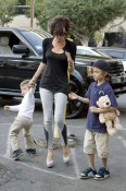 Victoria Beckham out with sons Cruz and Romeo for Frozen Yoghurt