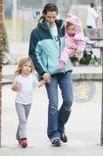 Jennifer Garner with daughters Seraphina and Violet at Palisades Park