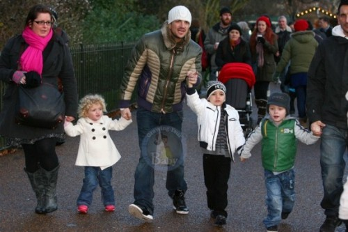 Peter Andre with Junior & Princess Tiaamii at winter wonderland in London