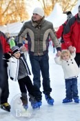 Peter Andre with Junior and Princess Tiaamii at winter wonderland in London