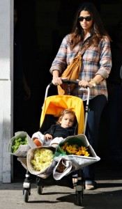 Pregnant Camila Alves stocks up on flowers with son Levi