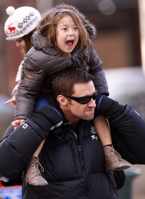 Hugh Jackman Piggy Backs Daughter Ava