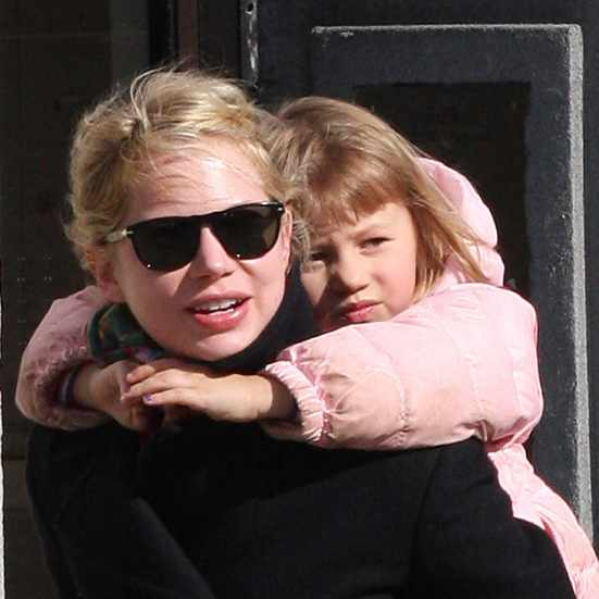 Michelle Williams Piggy Backs Matilda Through Brooklyn
