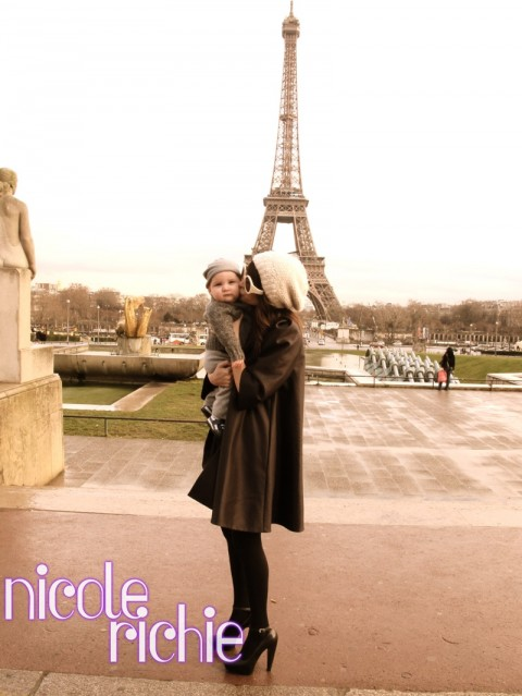 Nicole Richie and Sparrow at The Eiffel Tower, Paris