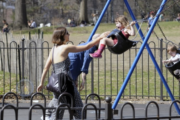Maggie Gyllenhaal and daughter Ramona at the park