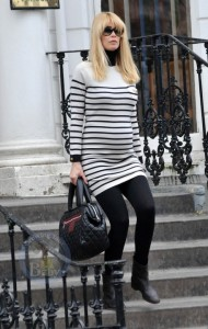 Pregnant Supermodel Claudia Schiffer: Stylish In Stripes