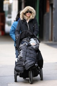 "Naomi Watts With Alexander in a 7 a.m. enfant ""Pookie Poncho"""