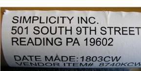 Recalled Simplicity Cribs, Serial Number panel