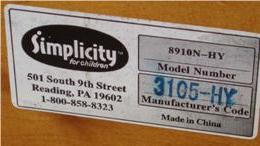 Recalled Simplicity Cribs, Serial Number panel (alternative view)