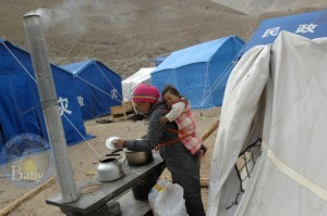 Mom in refugee camp in China's Qinghai province
