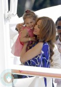 Jennifer Lopez and daughter Emme at the Eden Roc Hotel